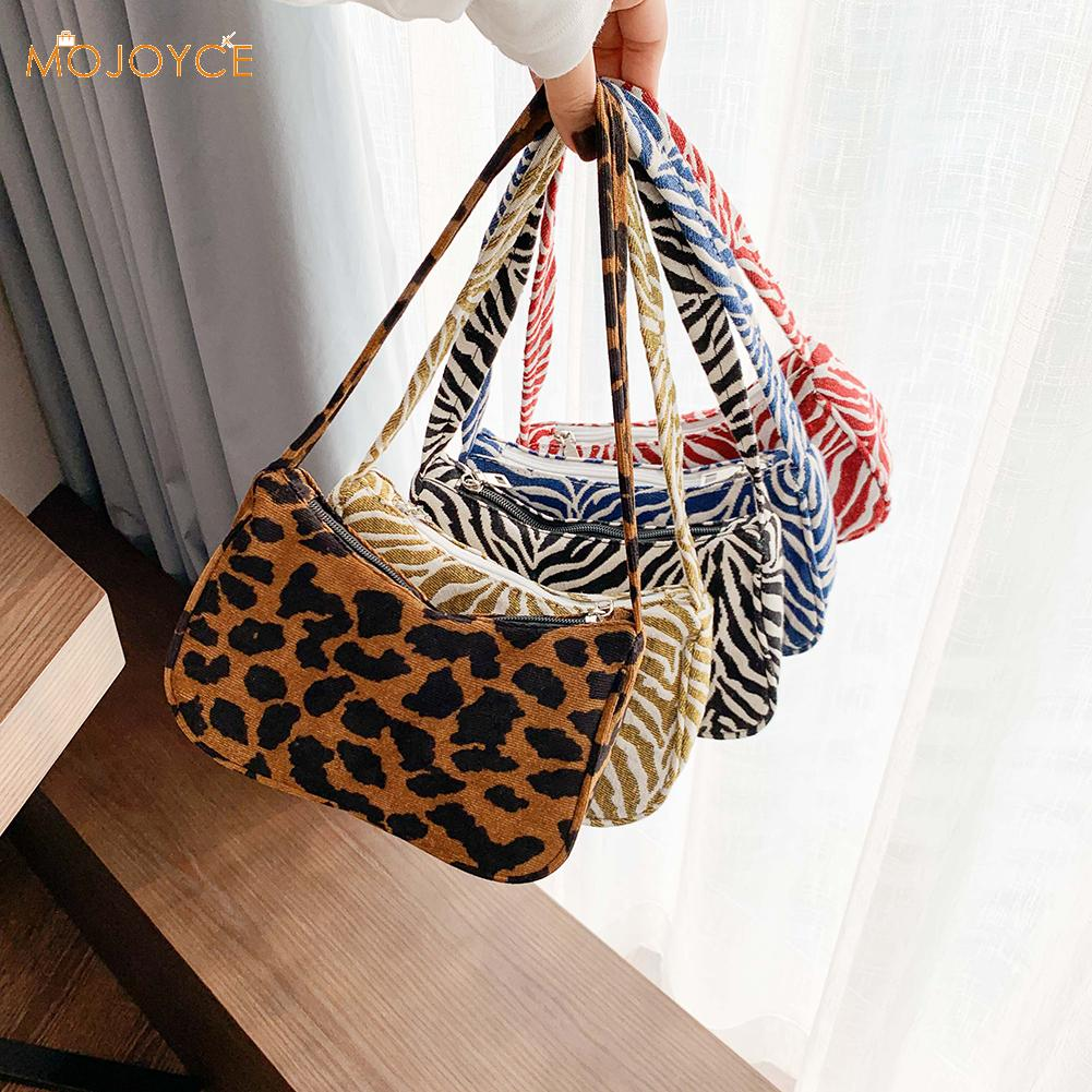 Vintage Animal Pattern Handbags Cloth Portable Women Fashion Small Underarm Shoulder Bags Female Street Travel Totes Clutches
