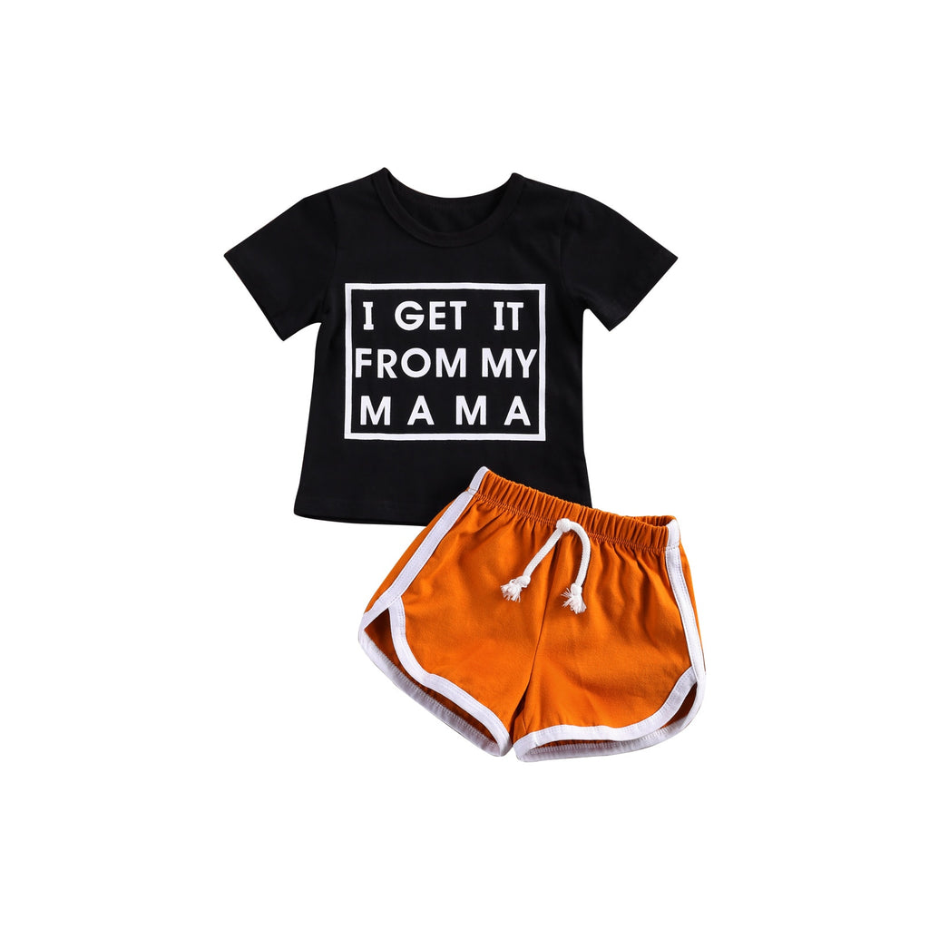 1-6Years Baby Boy Short Sleeve + Shorts, I GET IT FROM MY MAMA Letter Print Elastic Waist Summer Clothing
