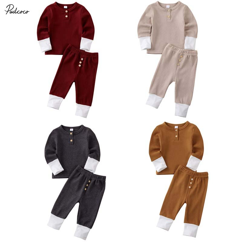 0-24M Toddler Baby Girl Boy Clothes Set Cotton Long Sleeve Sweatshirt Top Pants Infant Outfits Set