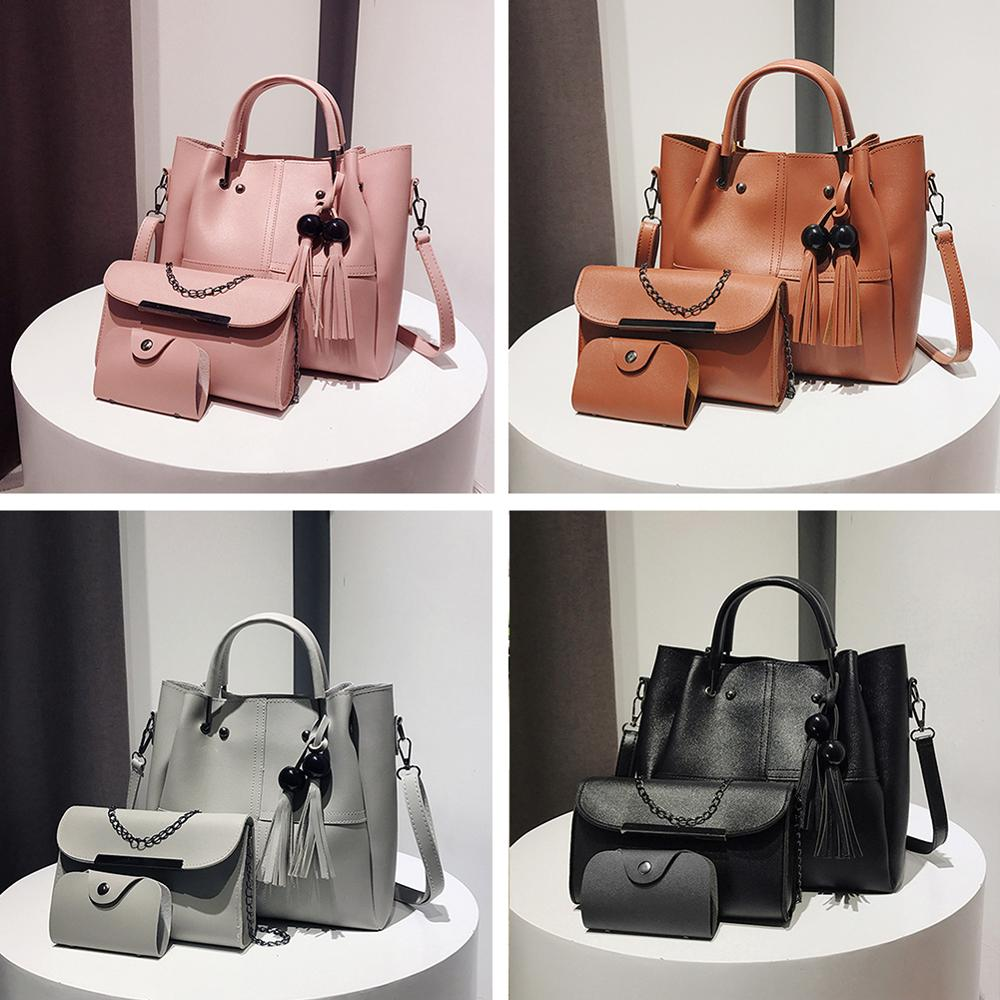 3pcs/set Fashion Women Handbag Beads Tassel Shoulder Totes Bags Female PU Leather Girls Large Solid Capacity Clutch Bucket Bags