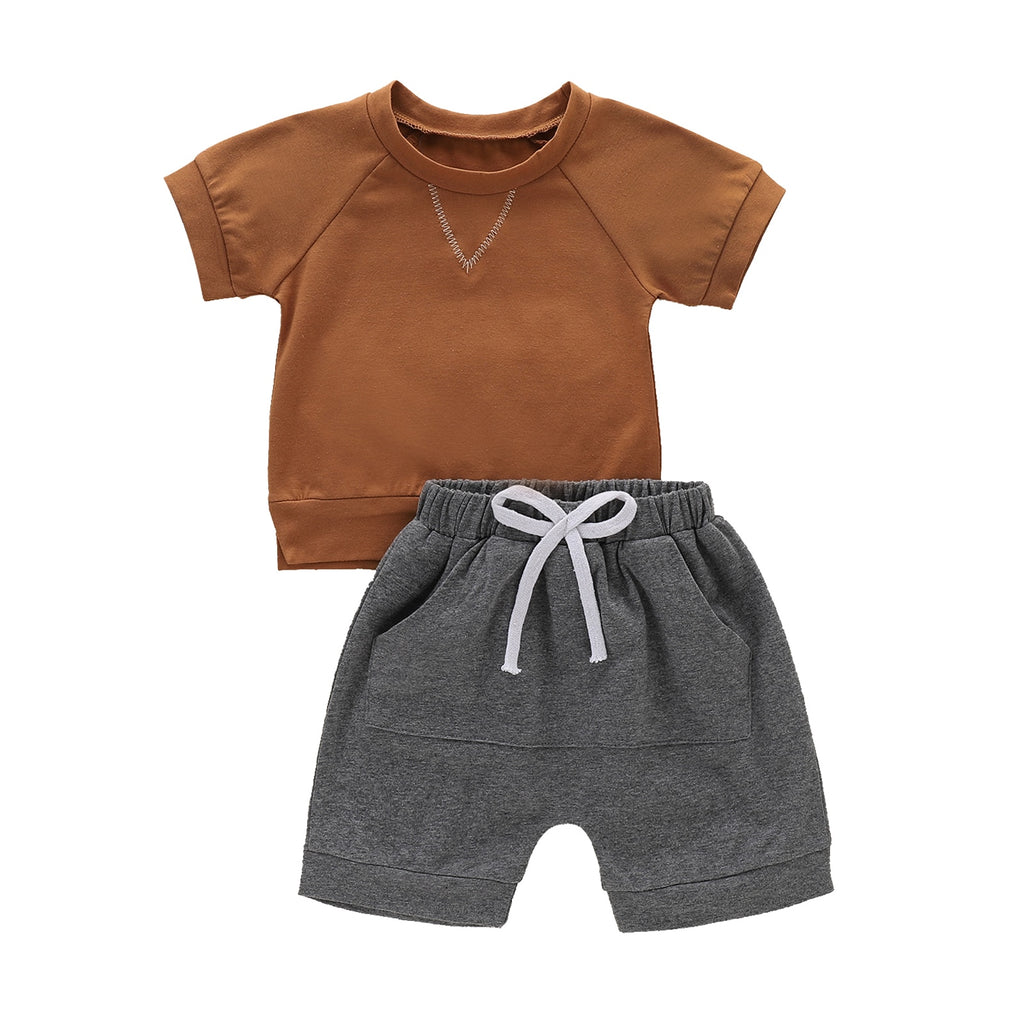 1-5Y Summer Casual Baby Boys Clothes Sets Brown Solid Short Sleeve T Shirts Grey Shorts Bottoms 2Pcs Outfit Set