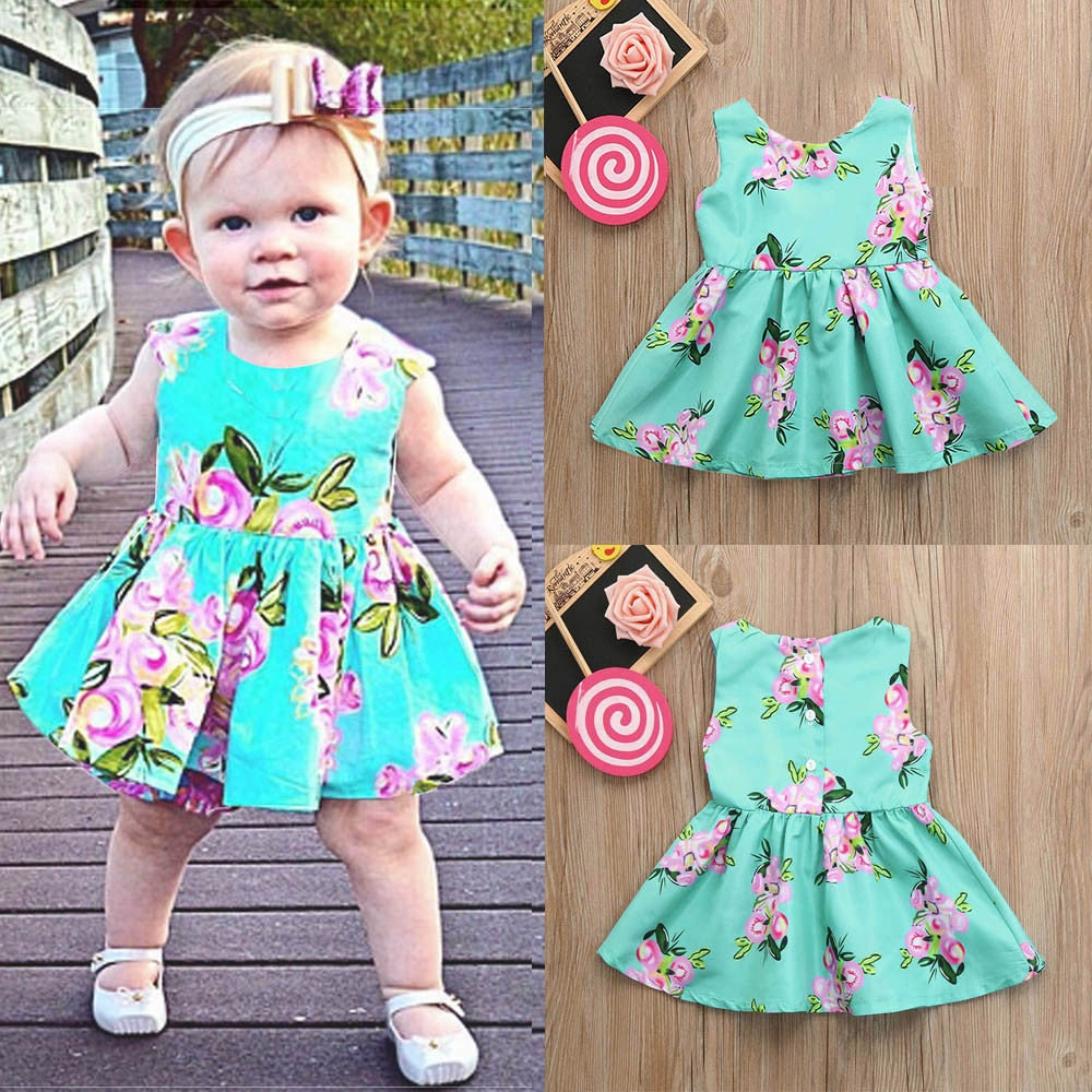 Fashion Infant Girls Dress Baby Girls Infant Kids Floral Print Sundress Clothes Sleeveless Princess Casual
