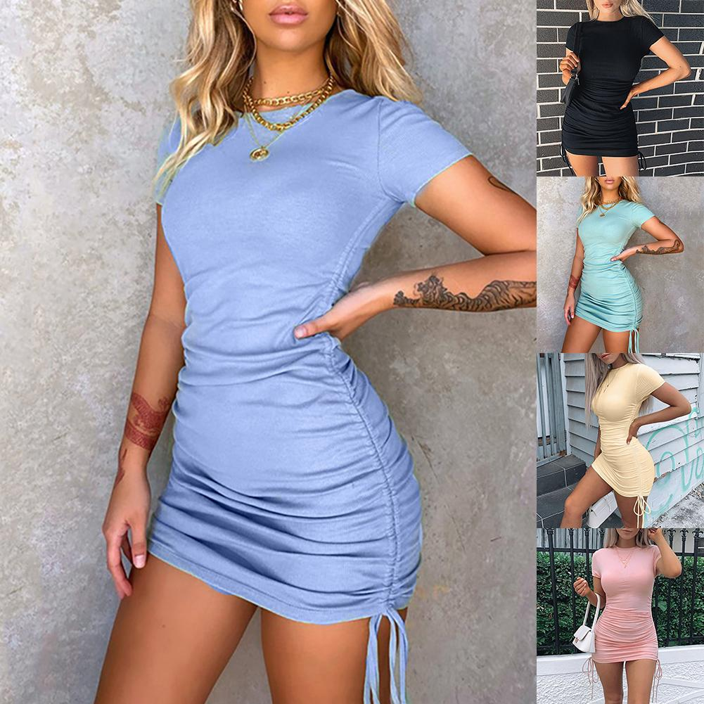 Hot Sale Women Summer Sexy Solid Color Drawstring Short Sleeve Bodycon Ruched Party Dress