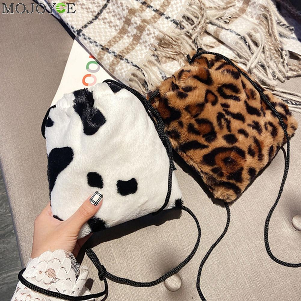 Fashion Cow Milk Leopard Printed Plush Crossbody Bags for Women Girl Drawstring Shoulder Bucket Wristlets Mini Small Money Pouch