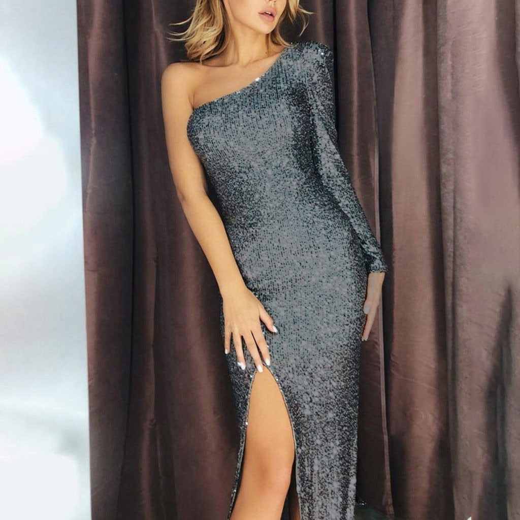 Women Sexy Sequined Stitching Shining Club One Shoulder Banquet Club Dress Elegant Ladies Party Bodycon Dress