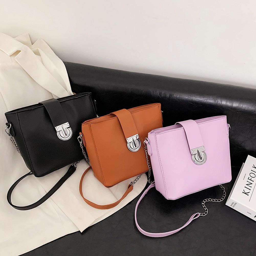Fashion Solid Color Chain Envelope Handbag Women Leather Shoulder Crossbody Bags Female Street Travel Flap Messenger Totes