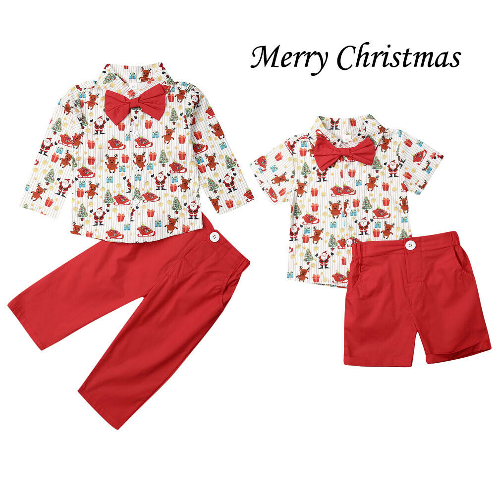 Citgeett Summer Fall Autumn 1-6Years Christmas Toddler Kids Baby Boy Clothes Xmas Cartoon T-Shirt+Shorts Red Outfits Set