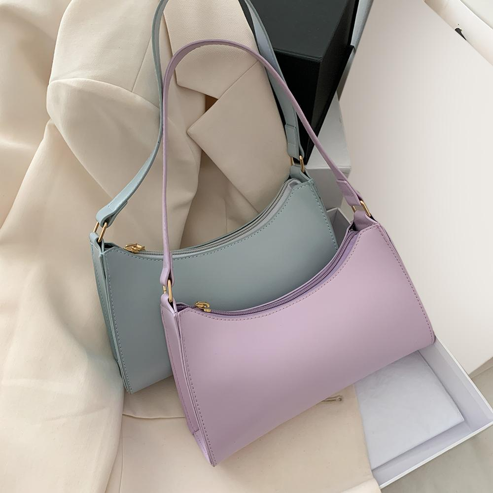 Solid Color PU Leather Shoulder Bags For Women  Fashion Sling Handbags and  purse Small Travel Hand Bag Lady Crossbody Bag