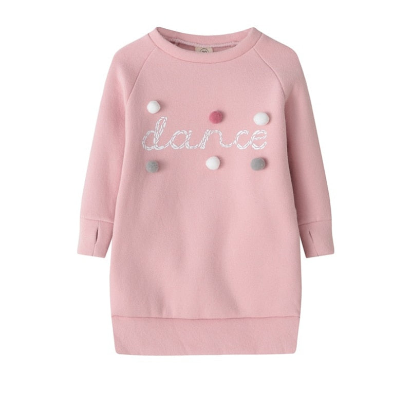 Kids Baby Girl Warm Autumn Winter Sweater Dress Plush Ball Long Sleeve Mini Stright Little Girls Party Princess Dresses Clothes