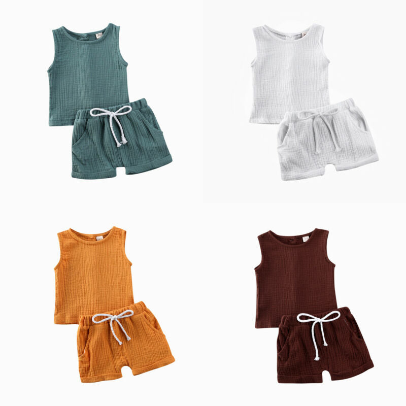 0-4T Toddler Baby Girl Clothes Set Cotton Solid Sleeveless Button-Down Tops Short Pants Summer Outfit Set