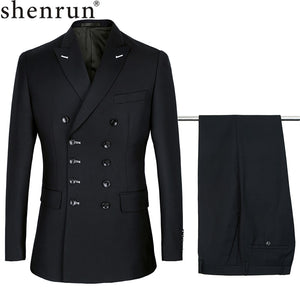 Men Suits Slim Fit New Fashion Suit Double Breasted Peak Lapel Navy Blue Black Wedding Groom Prom
