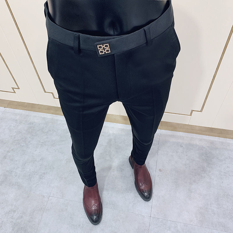 Mens Business Suit Pant  Male Pants Ankle Length Casual Slim Formal Trousers Elastic Pencil Pants Office Work Men Clothes