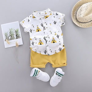 Boys Clothing Children Summer Boys Clothes 1-4Years Infant Baby Boys Clothes Set Cartoon T-shirt Tops+Shorts Summer Outfits