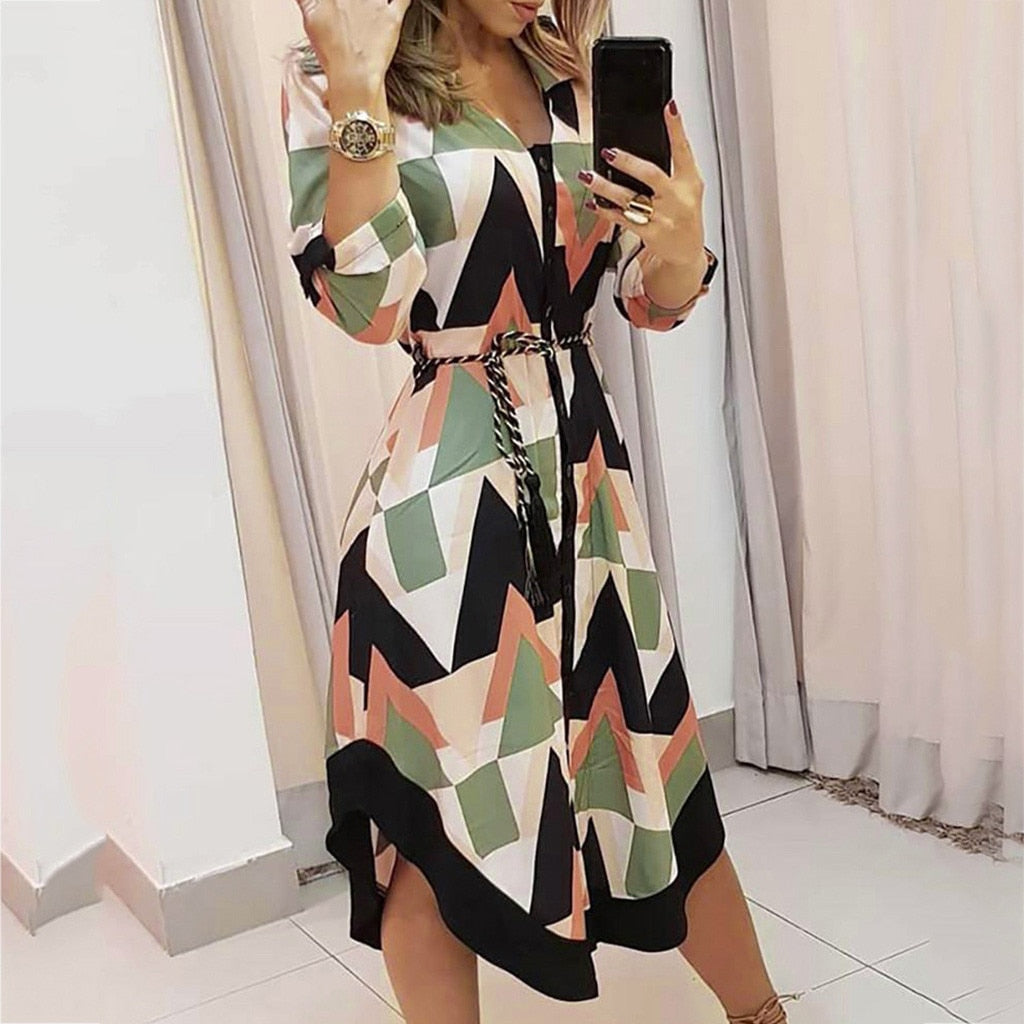 Women dress Holiday Style Feminino Printed Casual Plus Size Ladies Comfortable breathable Long Sleeve Dress