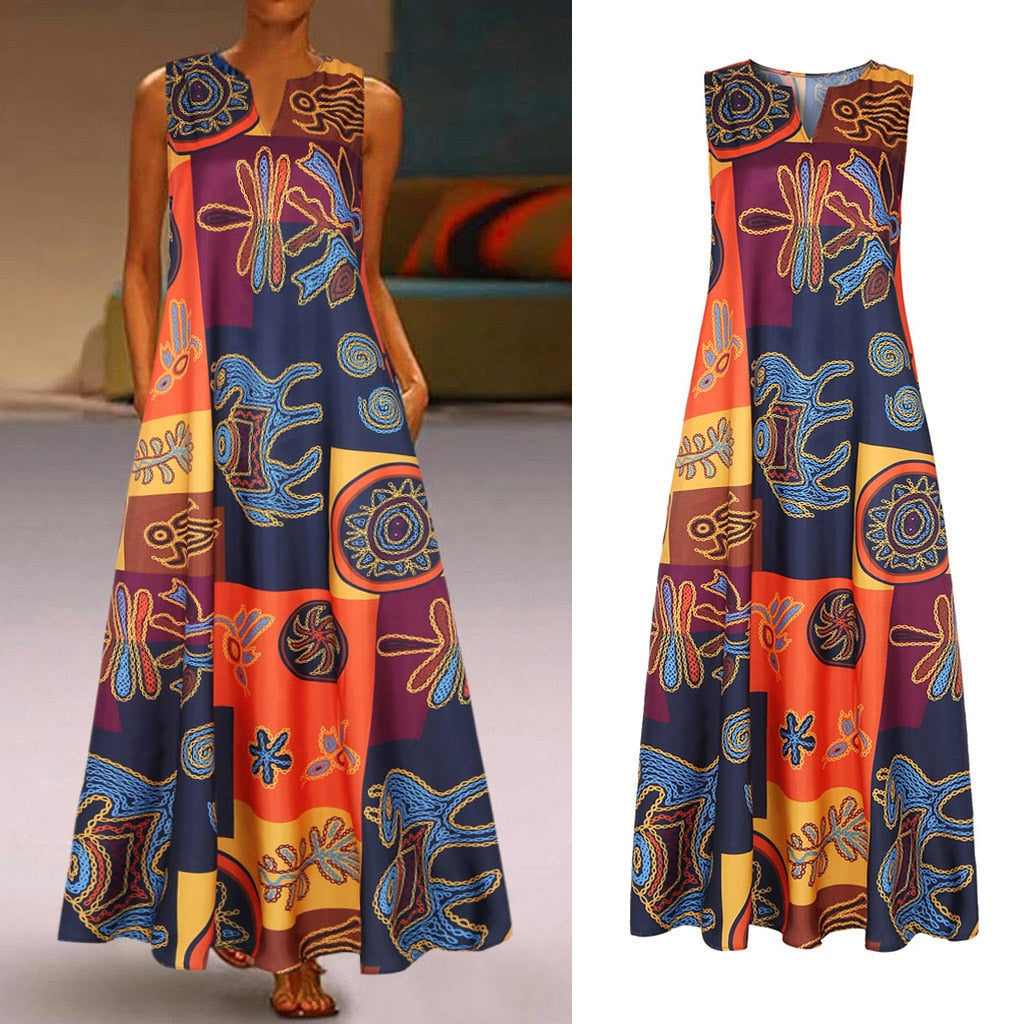 Vintage Sleeveless Long Dress Bohemian Casual Loose Plus Size Retro Maxi Dresses Women 2021 Summer O-neck Daily Beach Dress