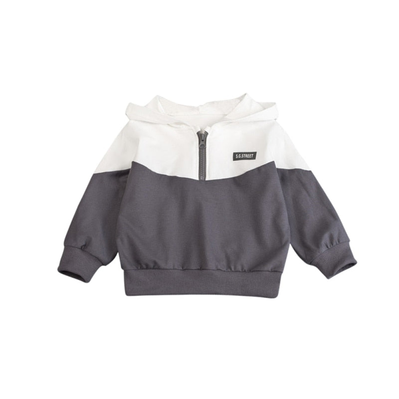 Active Sweater Hooded Long-Sleeved Boys And Girls Cotton Fashion Color Matching Half Zipper Casual Cardigan