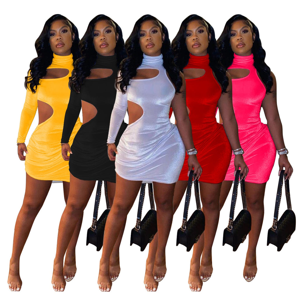 Echoine Spring One Sleeve Shoulder Hollow Out Sexy Dresses Bodycon Mini Dress  Women Party Night Vintage Vestidos Clubwear