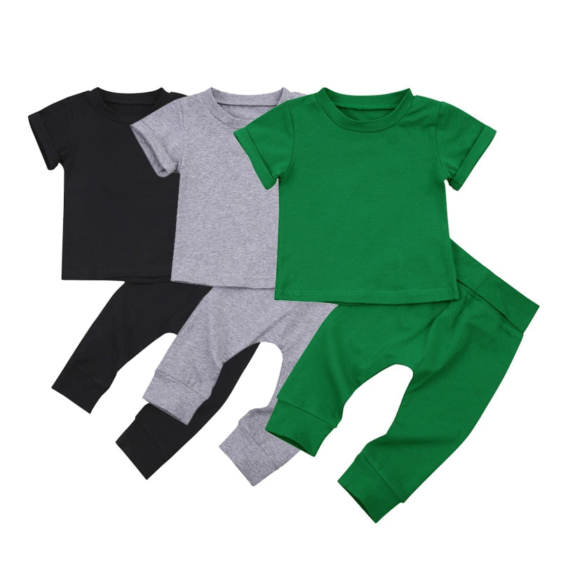 1-4Years Toddler Baby Girl Boy Cuasal 2Pcs  Summer Spring Clothing Set Short Sleeve Solid Cotton Top Long Pant