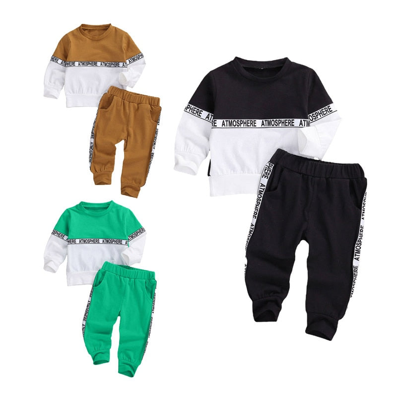 0-4Years Newborn Toddler Baby Boy Autumn Clothing Set Patchwork Long Sleeve Top Long Pants 2Pcs 3Styles Outfit