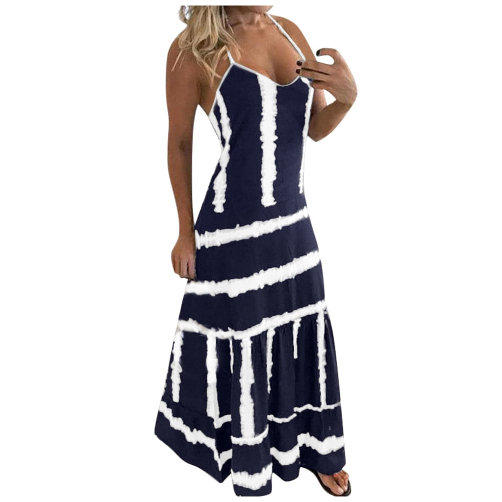 Clothing 2021 Popular Women's Womens Tie-dye Beach Pullover Maxi Boho Sundress Ladies Loose Long Slip Dress Simple And Generous