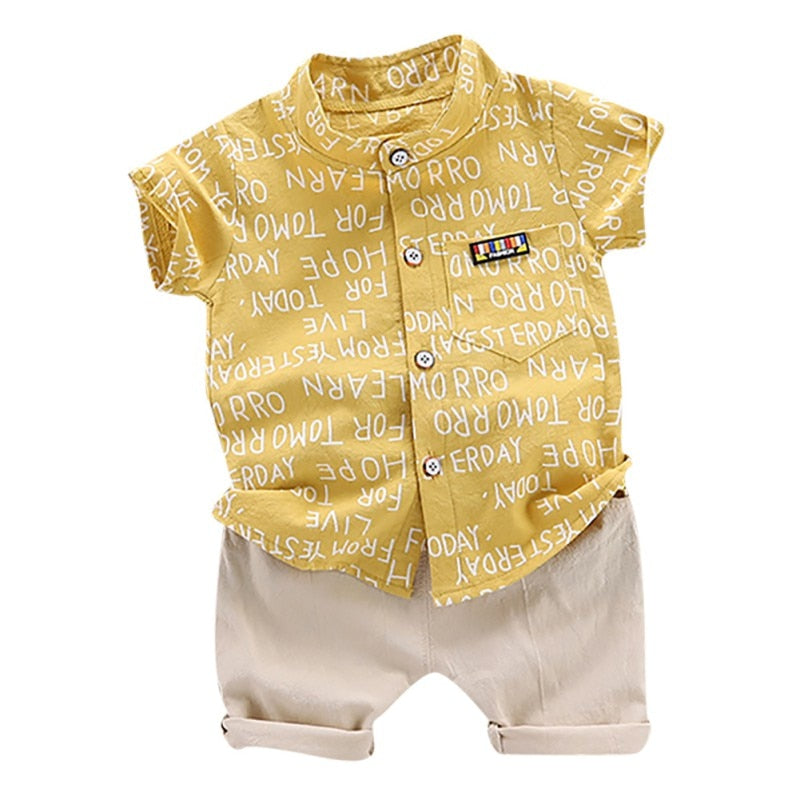 Summer Suit Baby Boys Casual Short Sleeve Letters Print T-shirt Tops+Shorts Costume Set.