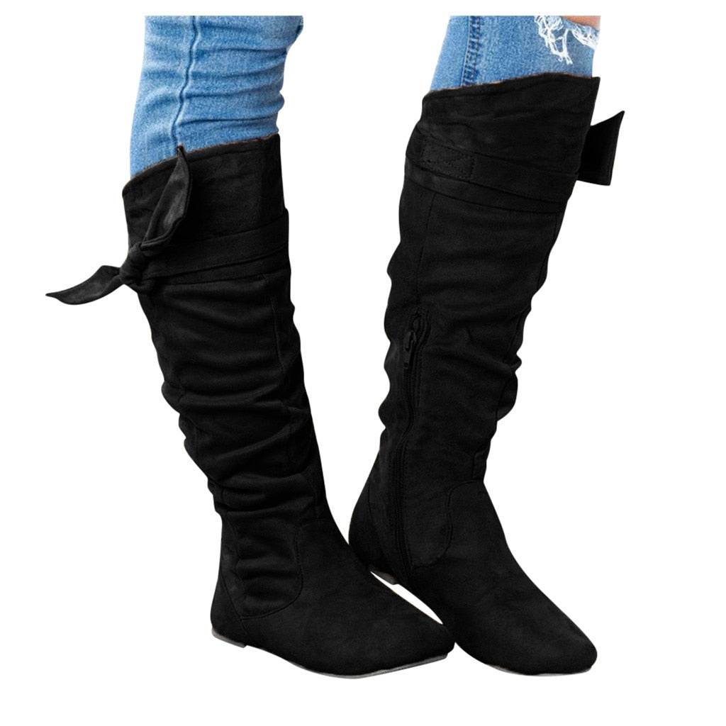 New Simple Women Shoes Ladies Fashion Casual Beautiful Knotted Knee-high Long Boots Flat Fashion PU Leather Shoes
