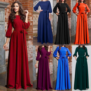 Women Summer Party Dress Casual Party Dress Lantern Sleeve Solid Long Maxi Dresses With Belt Vestidos Verano Mujer