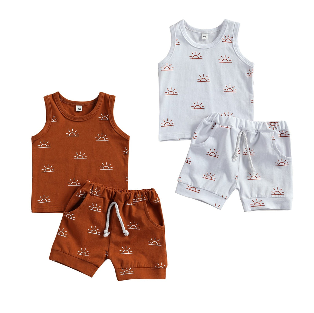 0-3Years Toddler Baby Boy Girl Clothes Sets Sun Print Sleeveless Pullover Vest Shorts  2 Colors 2Pcs Outfit
