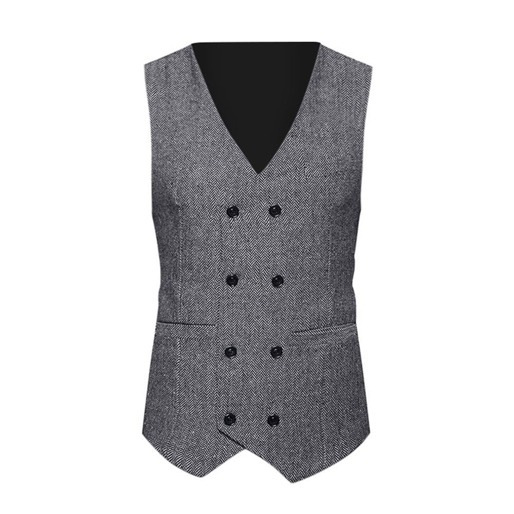 Mens Suit Vest Formal Tweed Check Double Breasted Waistcoat Retro Slim Fit Suit Sleeveless Jacket Vests
