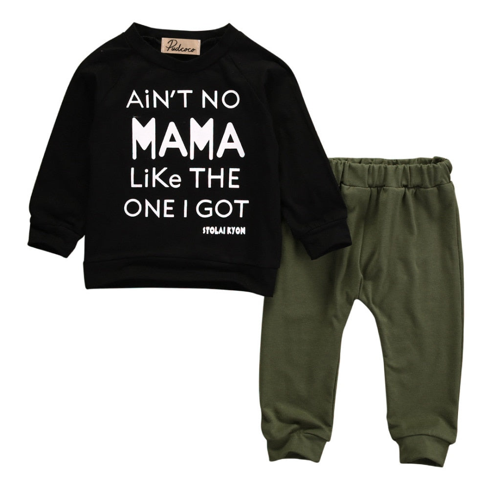 Newborn Toddler Infant Baby Boys Clothes Long Sleeve Mama Sweatshirt Top +Pants 2pcs Outfits Kids Clothing Set