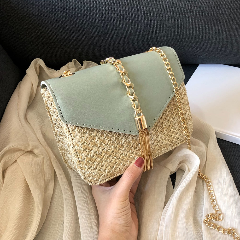 Fringed Chain Small Flap Bags For Women  Fashion Straw Crossbody Bags Ladies Summer Messenger Shoulder Handbags