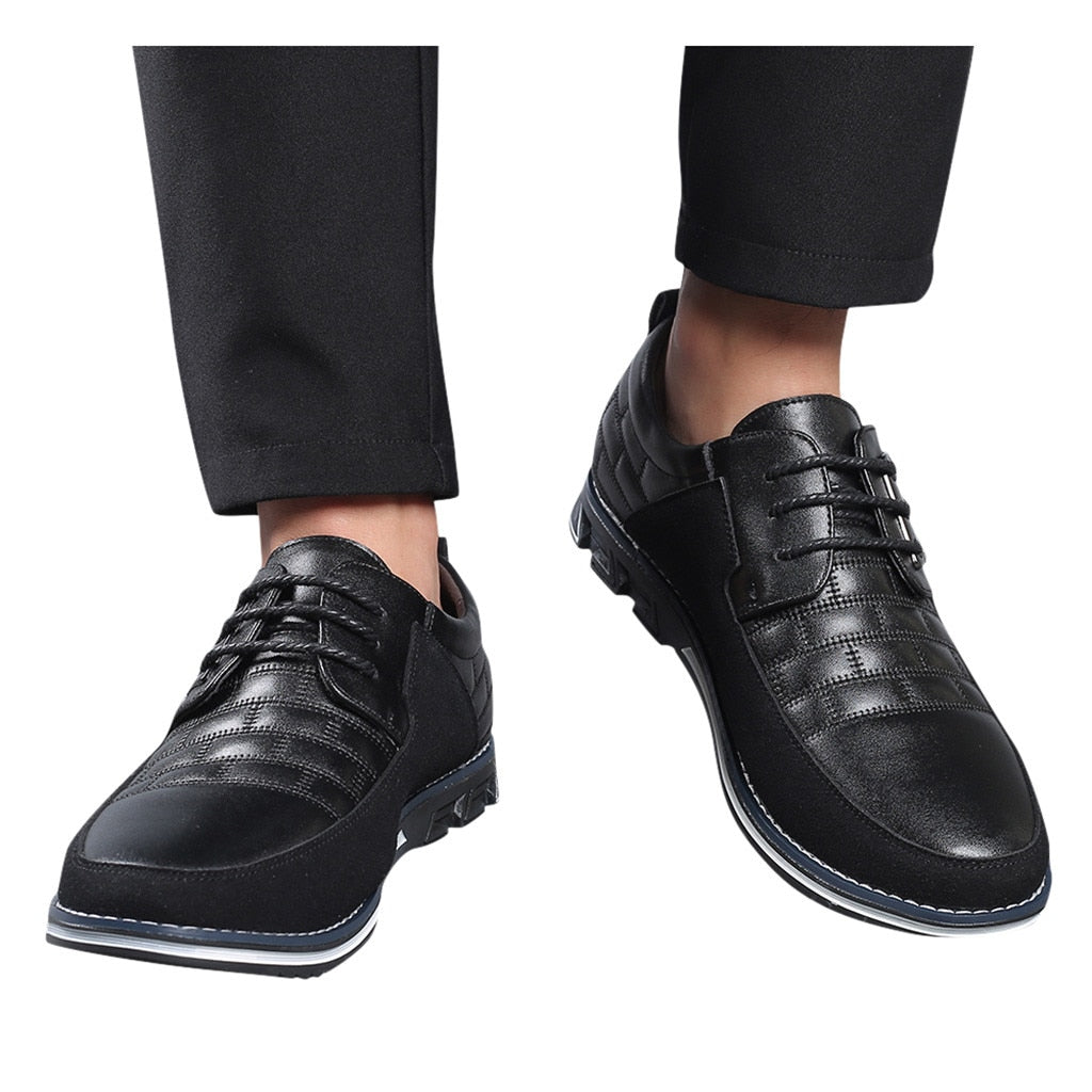 New Summer Business Leather Men Shoes Fashion Casual Shoes Lace-Up Business Wedding Dress Shoes Big Size 39-48