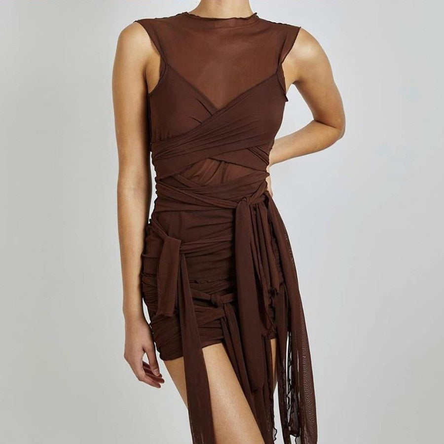 Brown Ribbons Mesh See Through Bodycon Party Dresses Women Sexy Clubwear Mini Dress Solid Sleeveless Basic Female