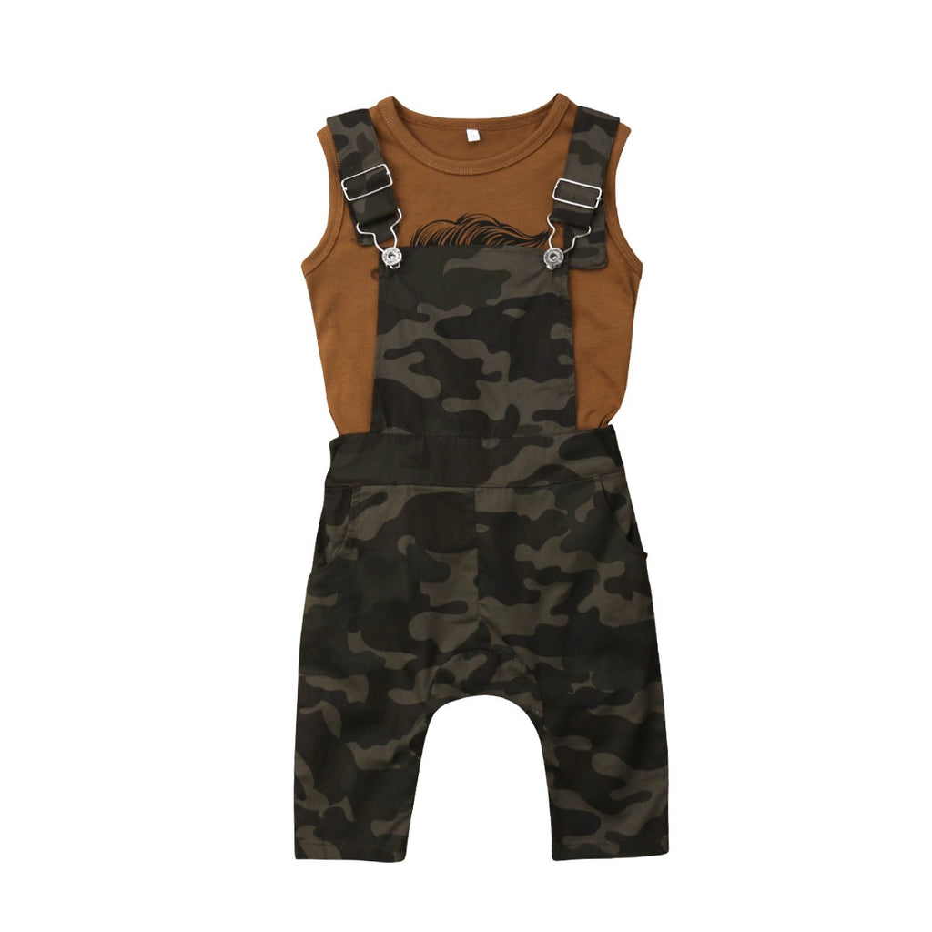 1-6Years Toddler Baby Girl Boy Clothes Vest Top T-Shirt+Camouflage Overalls Summer Casual Outfit Set