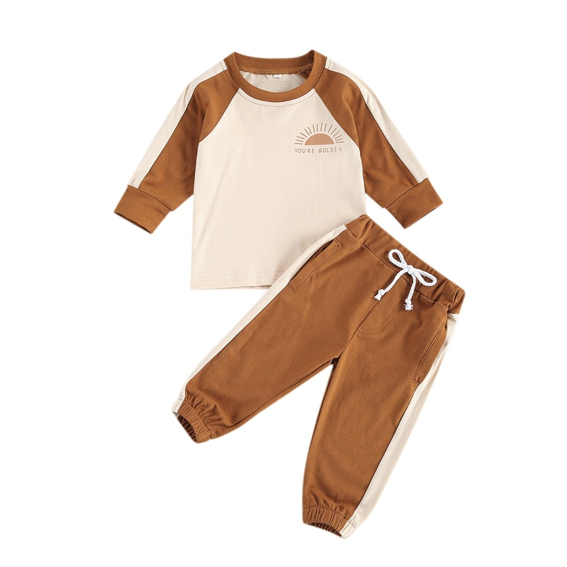 0-3Years Newborn Baby Boy Girl Patchwork Top Lace-up Pants Long Sleeves Sun Printed Top Side Pocket Jogger Trousers