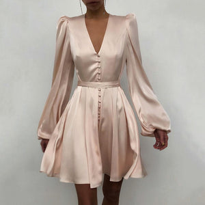 Women Dress Plus Size Dress Plain Puff Sleeve Ruffled Button Long Sleeve Dresses For Women 2020 Elegant
