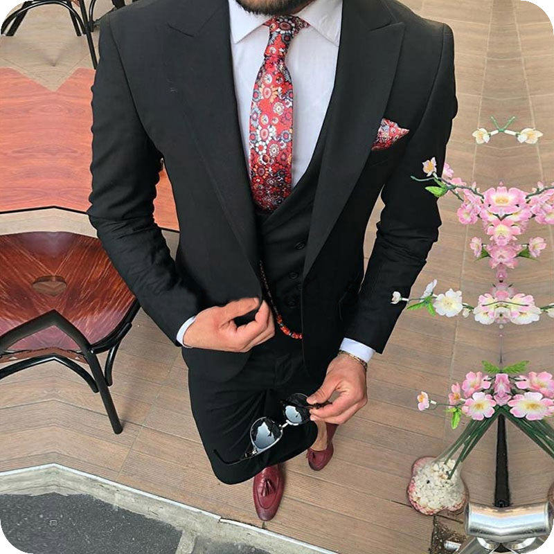 Pink With Black Lapel Suits for Men Custom Made Terno Slim Groom Custom 3 Piece Wedding Mens Suit Masculino Jacket+Pant+Vest+Bow