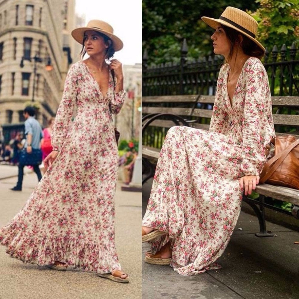 Retro Vintage Floral Printed Long Dresses Vestidos Full Sleeve V-Neck High Waist Loose Boho Beach