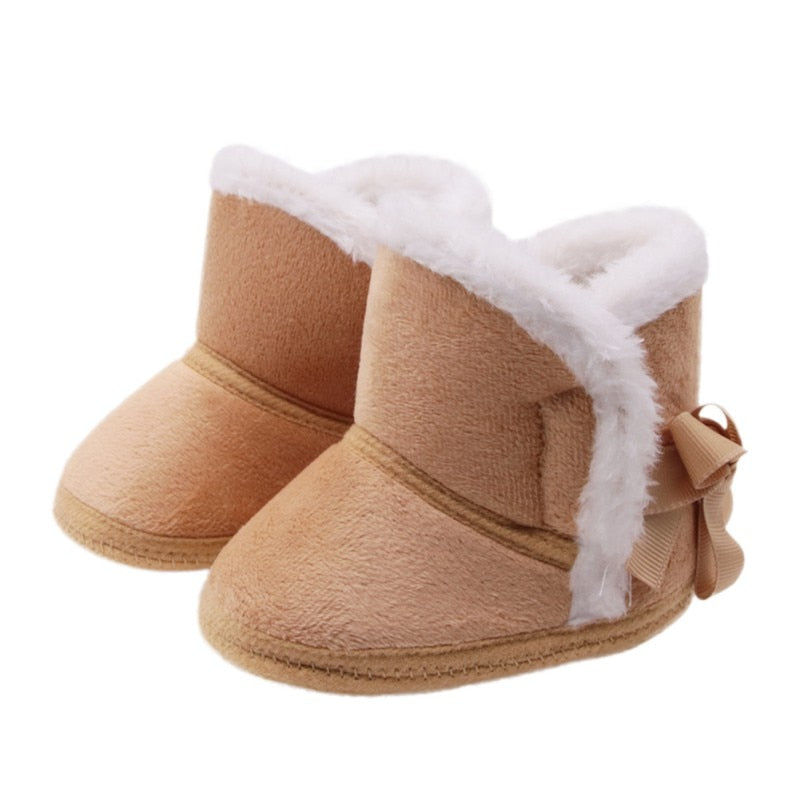 Winter Warm Baby Snow Boots First Walkers Infants Girls Sweety Princess Shoes  Soft  Non-slip Shoes Footwear