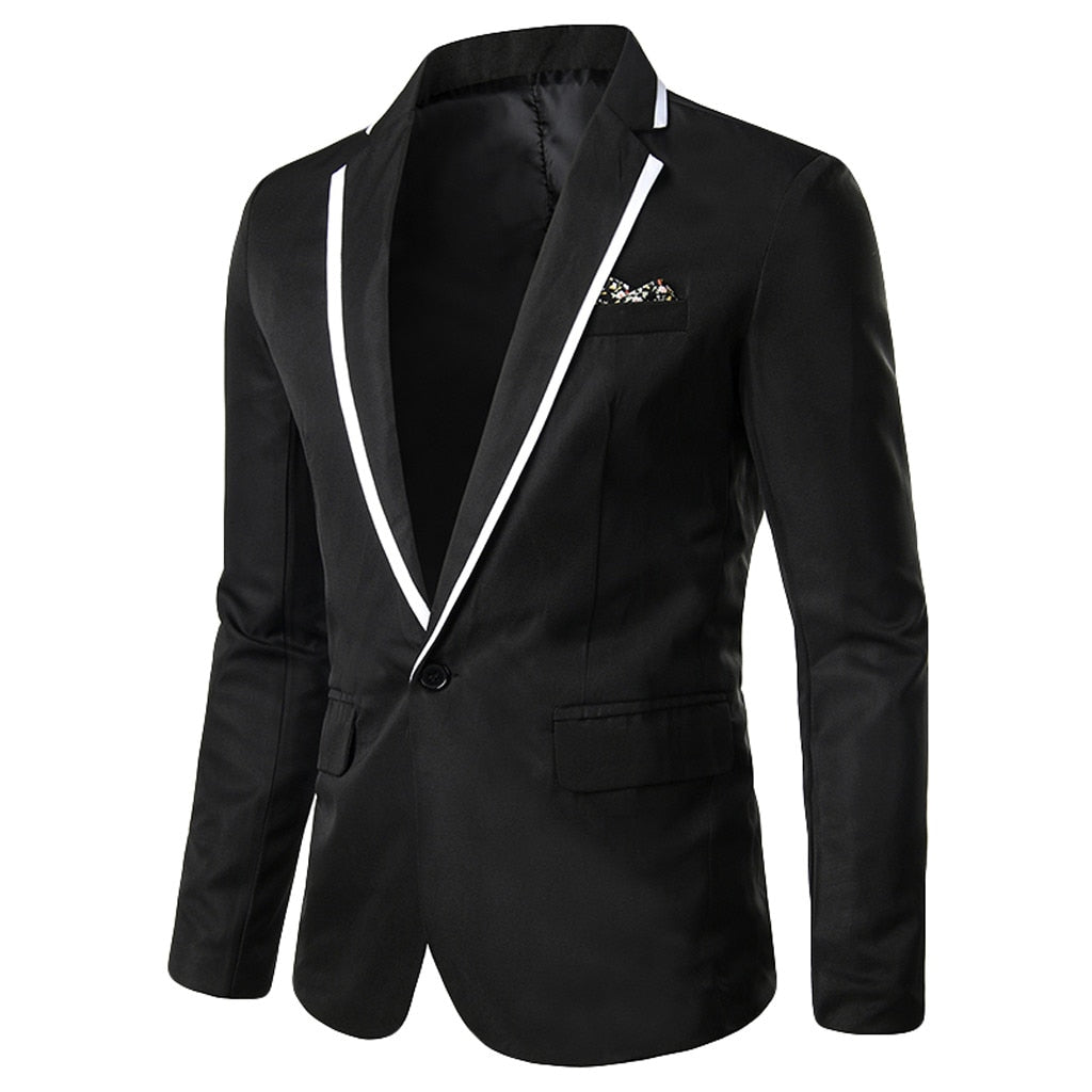 Men 's Suit Jacket Solid One-Button Notched Lapel Slim Fit White Stripe Pocket Mens Blazer Wedding Fitted