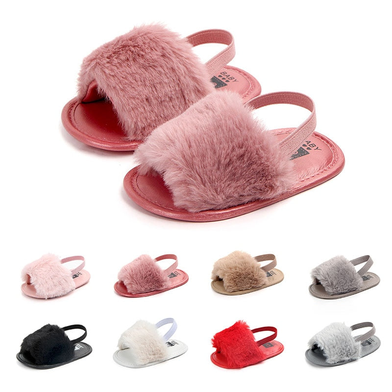 Soft Hair Style Classic Baby Girl Slipper Sandals Breathable Baby Fur Shoes Simple Elastic Sandals Princess Baby