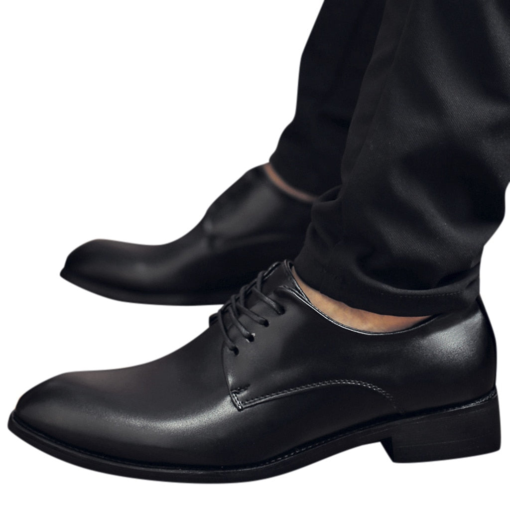 Spring Autumn Men Shoes Breathable Formal Shoes Men Casual Fashion Mens Leather Lace Up Shoes Flats