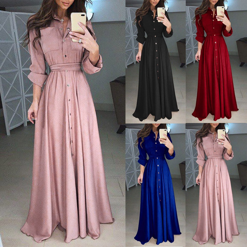 Sexy Lapel Maxi Dress Womens Casual Long Sleeve Solid Elegant Long Party Dress Soft Touch autumn winter Pleated Dresses