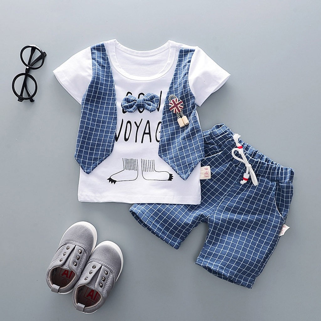 Baby Boy Clothing Sets Baby Toddler Boys Clothes Fake Two Piece T-shirt Tops+shorts Outfits Clothes Set Letter Print Party Suit