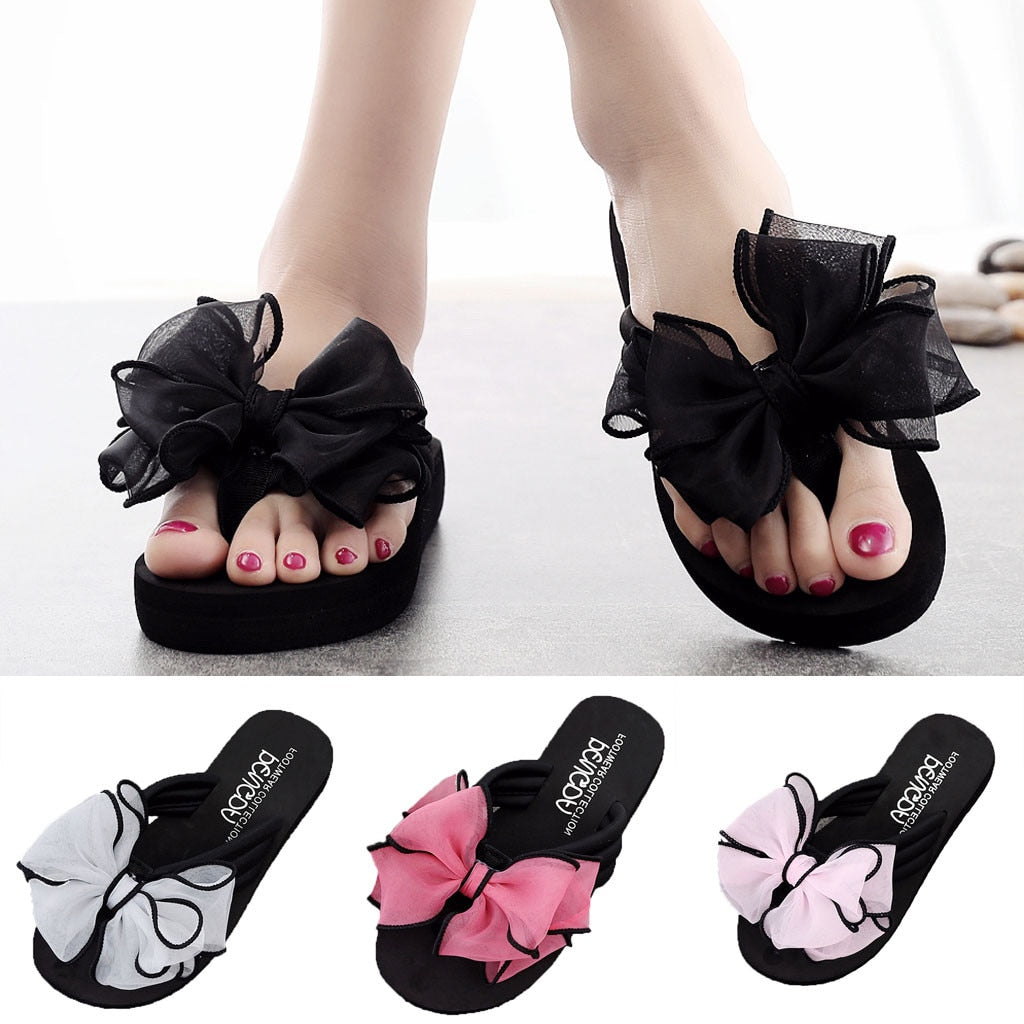 Summer Shoes Woman Bow Wedges Flip Flops Non-slip Clip Toe Beach Slippers Women Shoes Тапочки Home Slippers Zapatos De Mujer