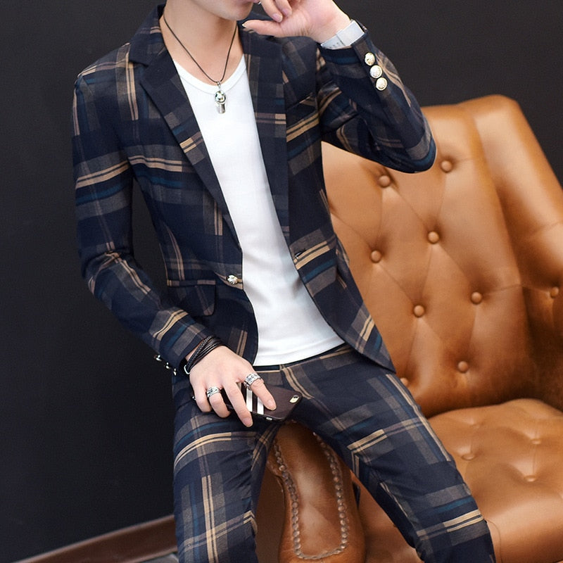 Men's Suits Korean Slim Floral Tops and Trousers Casual Fashion Men's Autumn and Winter