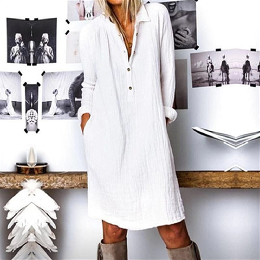 Cotton Linen Women Dress Spring Autumn Loose Plus Size Casual Vestidos Long Sleeve Nature Button Turn Down Collar Dresses
