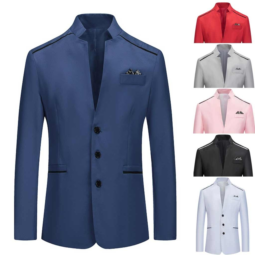 Business Casual Men's suit brand blazer masculino 2021 wedding solid Stand Collar Slim Fit Mens Blazer Plus Size