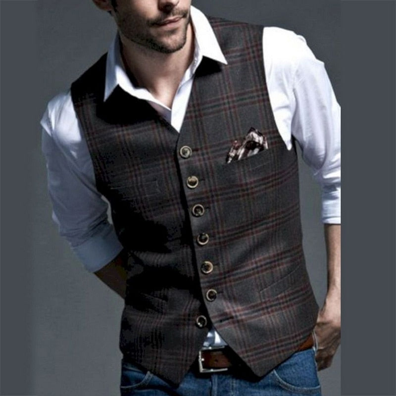 New Dress Vests For Men Slim Fit Mens Suit Vest Male Waistcoat Gilet Homme Casual Sleeveless Formal Business Jacket