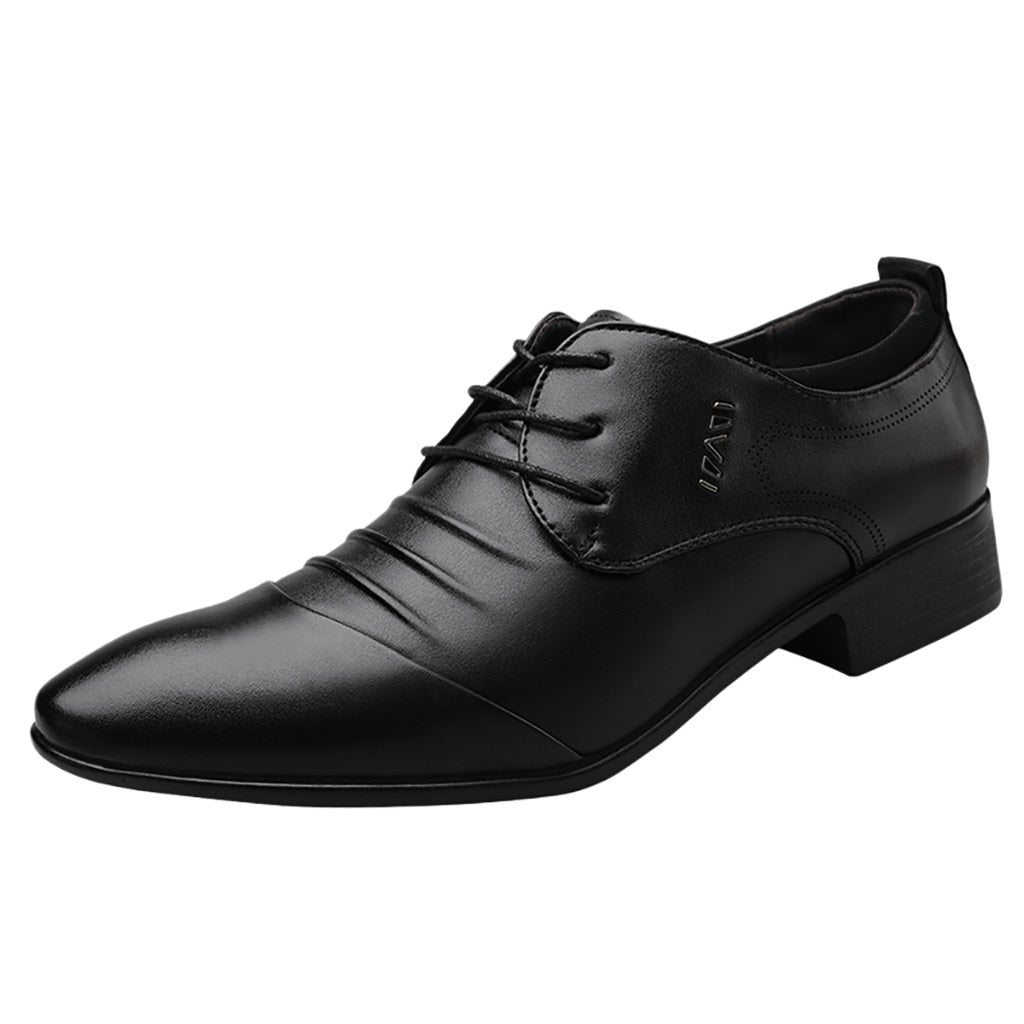 Oxfords Leather Men Shoes Fashion Casual Pointed Top Formal Business Male